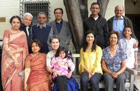 Family members of I-House alumnus Rangaiya Rao gather around the bench they dedicated in his memory.