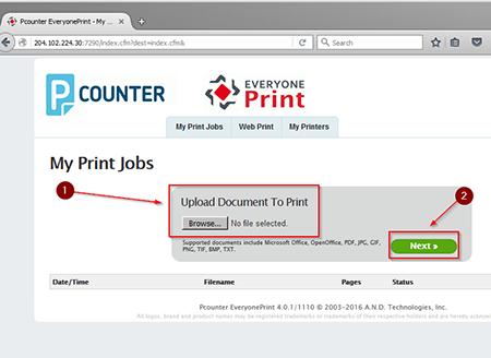 Printing step 2 screenshot