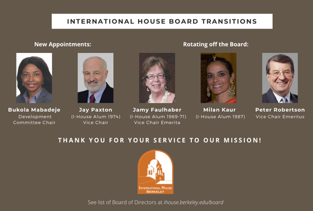I-House Board Transitions