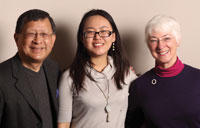 Scholarship founders Kwei Sang Ü (left) and Michele Ü (right) with Xunxun Liao (center) from China, recipient of the Adrian Hao Yin Ü Gateway Fellowship.