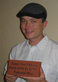 Nathaniel Rice holding his brick