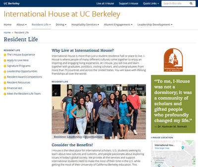 Resident Life page